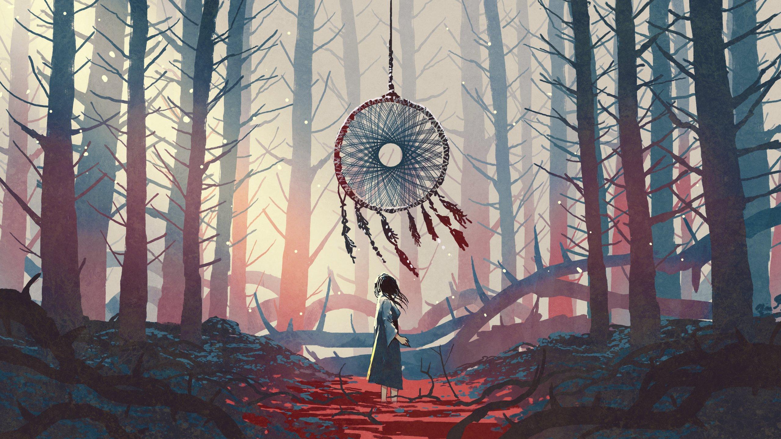 Frau in Fantasy-Wald mit Traumfänger üer ihr, digitale Zeichnung