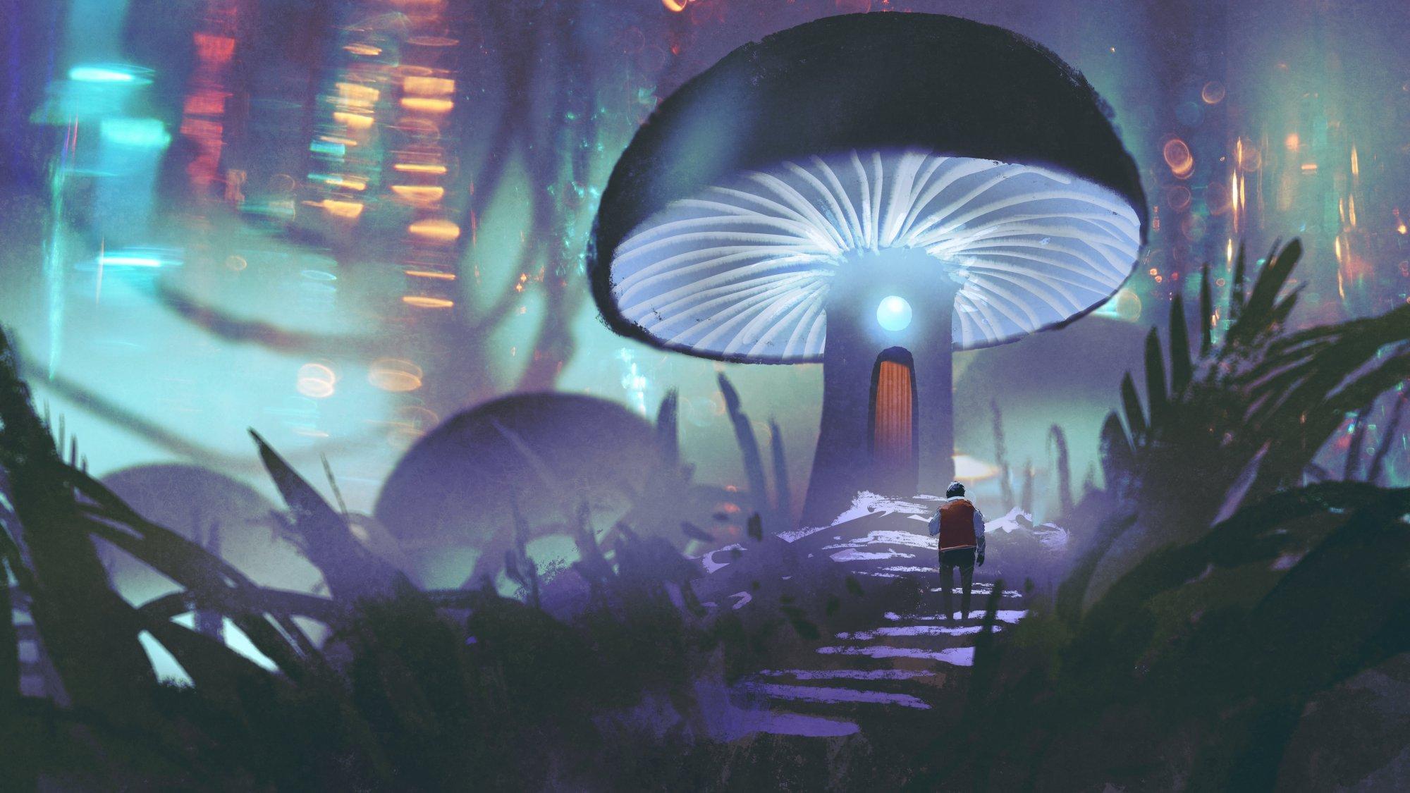 futuristische Illustration mit Person, die auf einen leuchtenden Pilz zugeht, in der eine Tür ist
